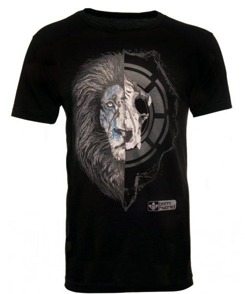 Men's black graphic t-shirt - half lion face, half lion skull. Combed organic cotton